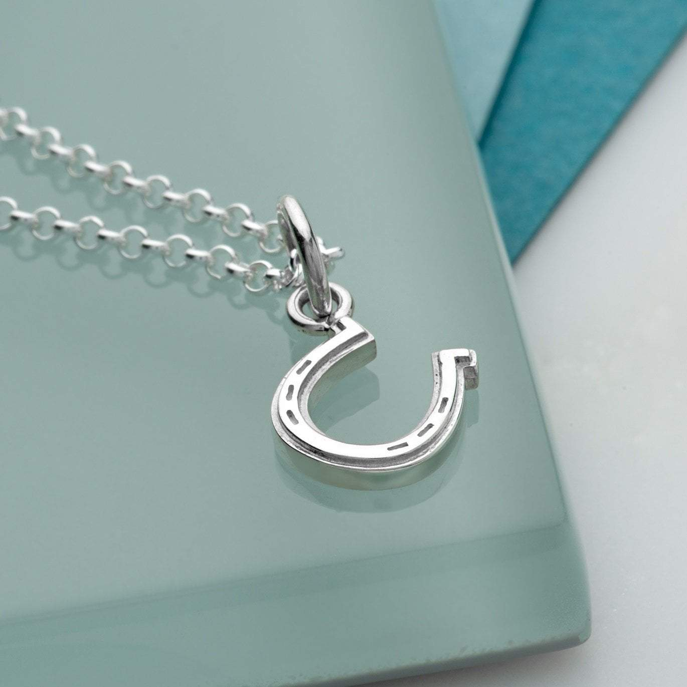 Personalised Silver Lucky Horseshoe Necklace - Lily Charmed