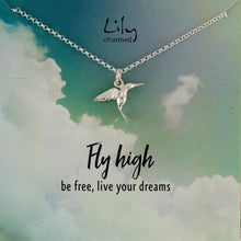 Silver Hummingbird Necklace with 'Fly High' Message - Lily Charmed