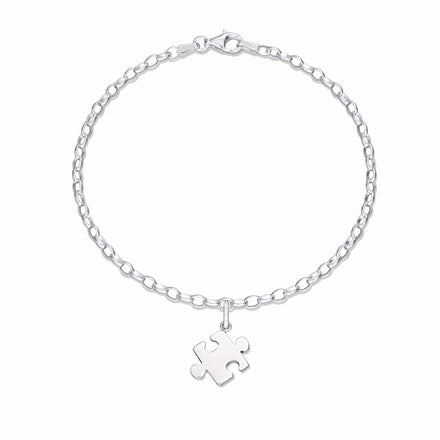 Personalised Silver Jigsaw Charm Bracelet - Lily Charmed