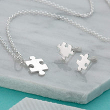 Silver Jigsaw Jewellery Set With Stud Earrings - Lily Charmed
