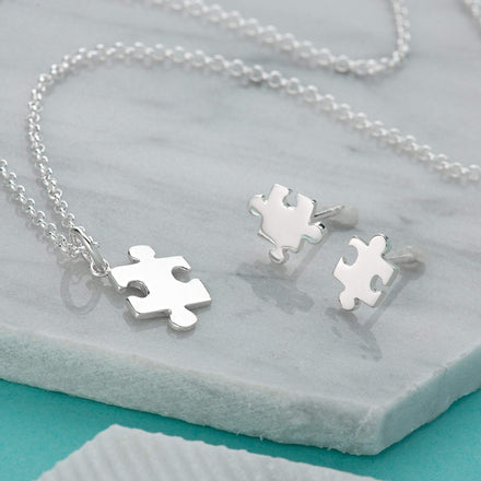 Silver Jigsaw Jewellery Set With Stud Earrings