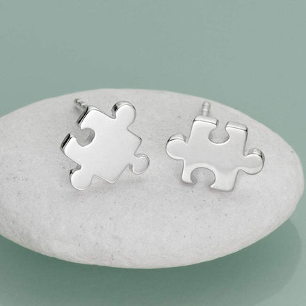 Silver Jigsaw Stud Earrings - Lily Charmed