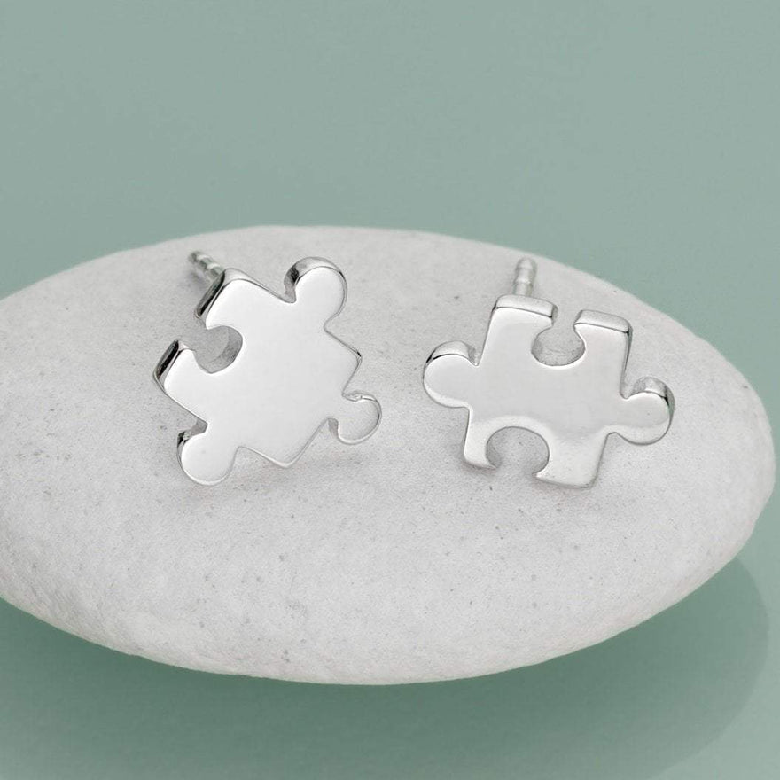 Silver Jigsaw Stud Earrings with 'Friendship' Message
