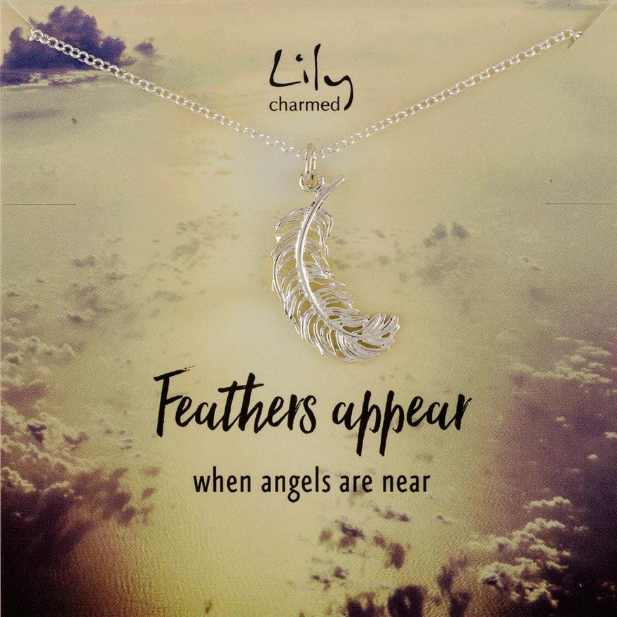 Large Silver Feather Necklace with 'Feathers Appear' Message - Lily Charmed