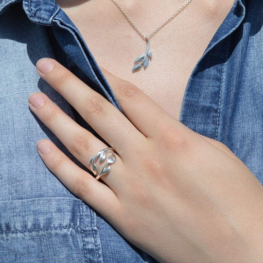 Laurel Leaf Open Ring - Lily Charmed