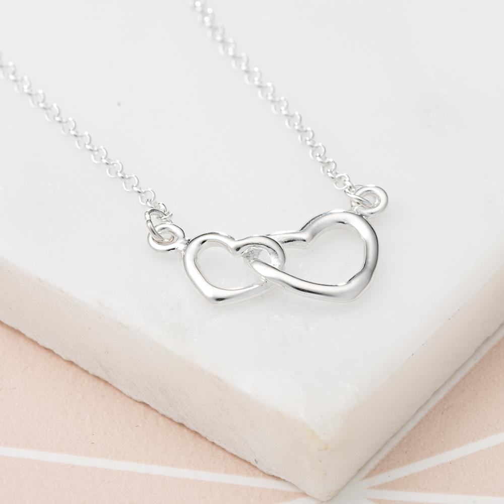 Personalised Silver Linked Hearts Necklace - Lily Charmed