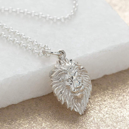 Personalised Silver Lion Head Necklace