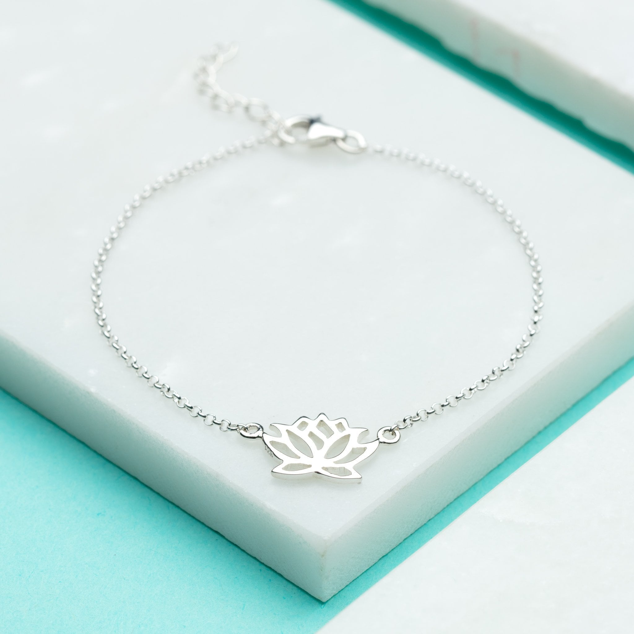 Personalised Silver Lotus Flower Bracelet - Lily Charmed