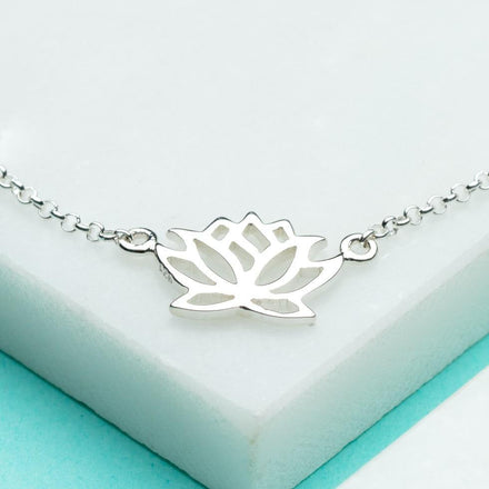 Personalised Silver Lotus Flower Bracelet