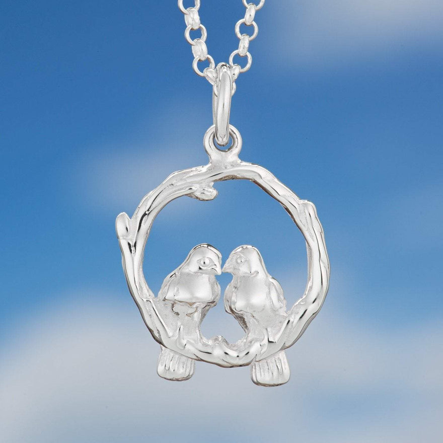 Personalised Silver Love Birds Necklace