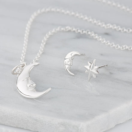 Silver Moon and Star Jewellery Set With Stud Earrings