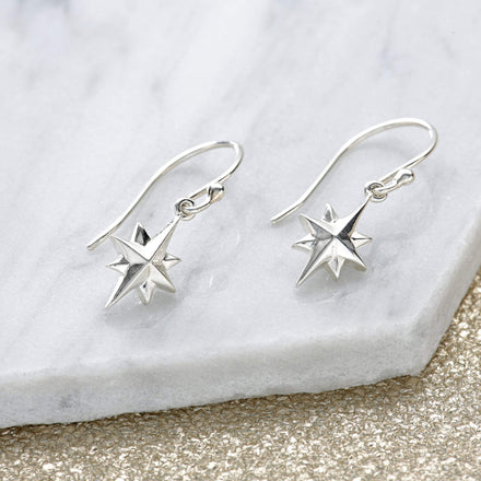 Silver North Star Hook Earrings - Lily Charmed