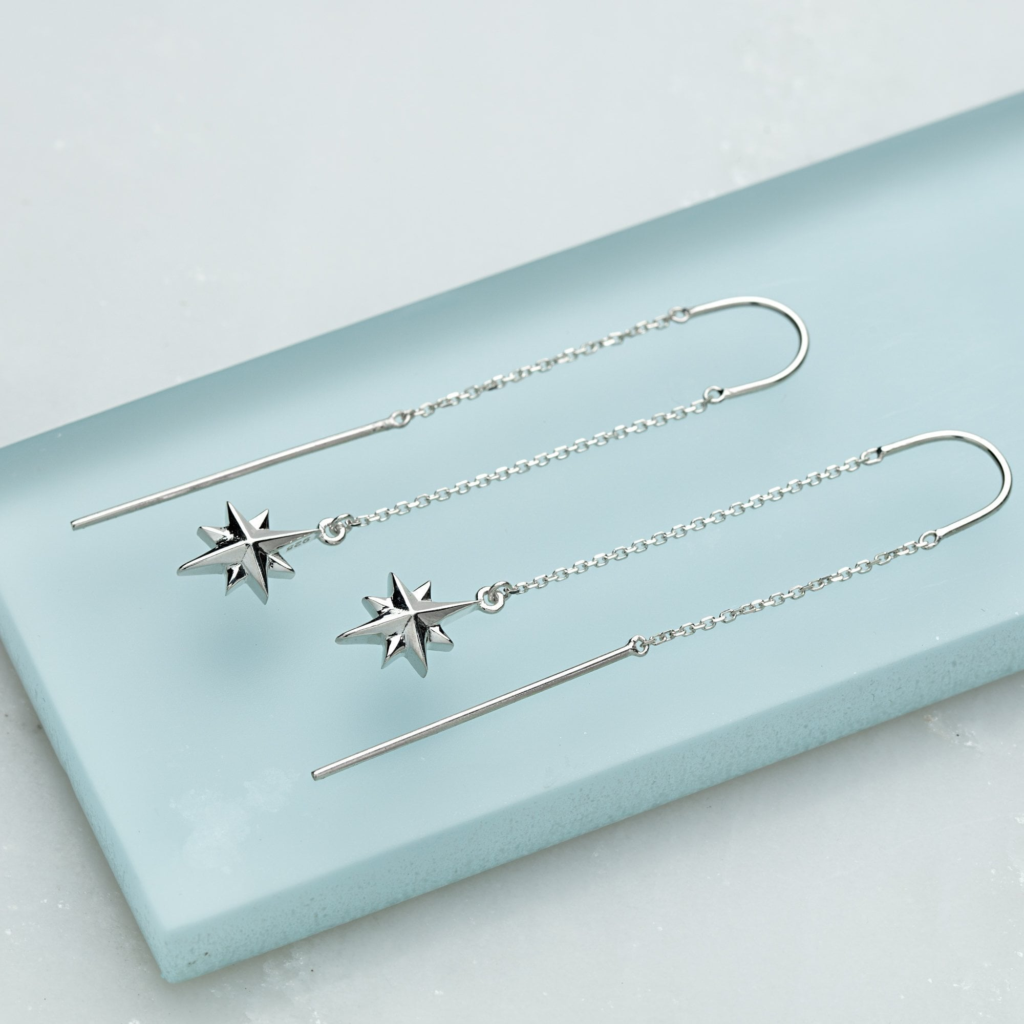 Silver North Star Threader Earrings - Lily Charmed