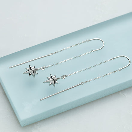Silver North Star Threader Earrings