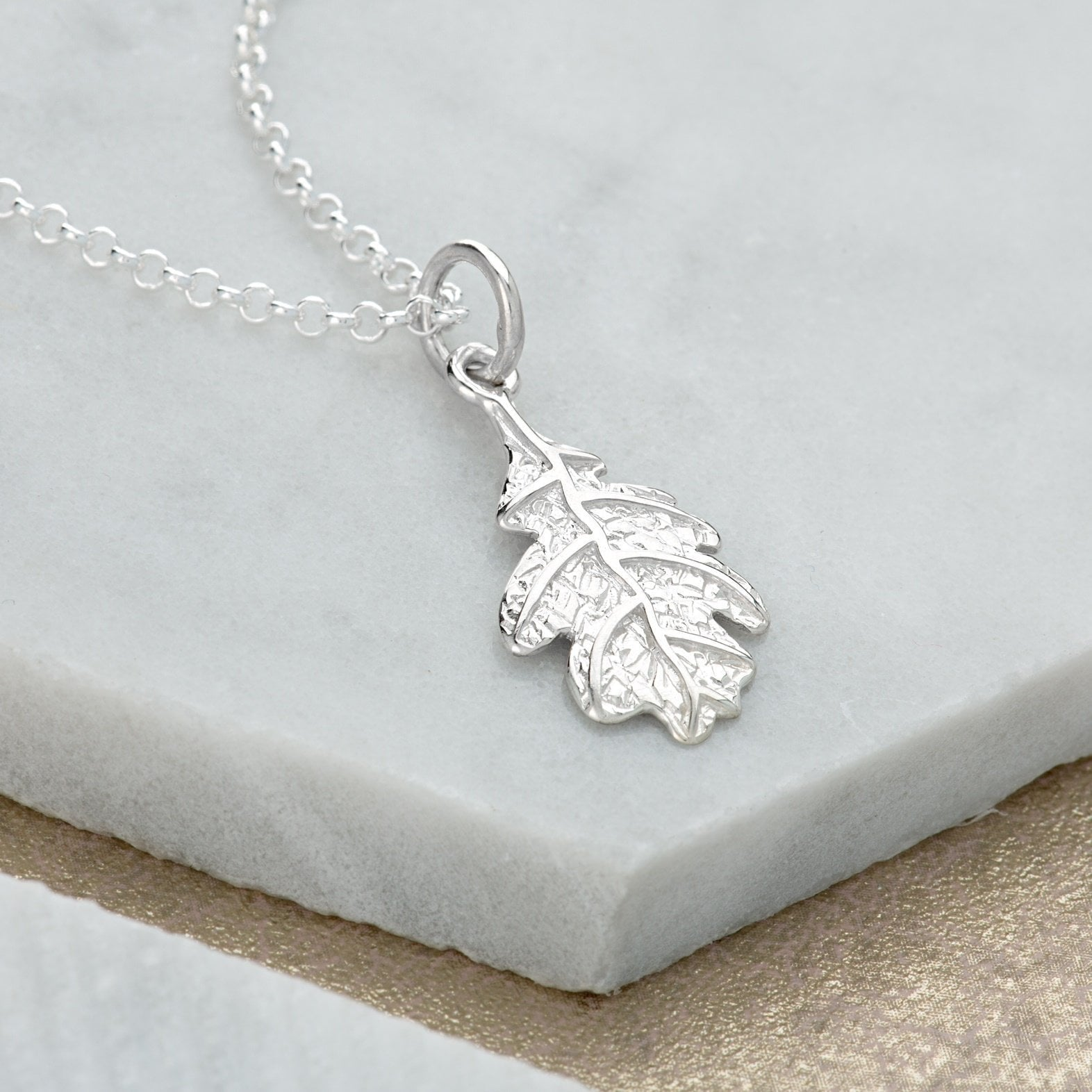 Personalised Silver Oak Leaf Necklace - Lily Charmed