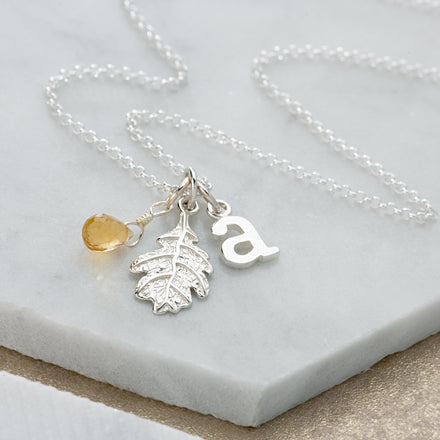 Personalised Silver Oak Leaf Necklace