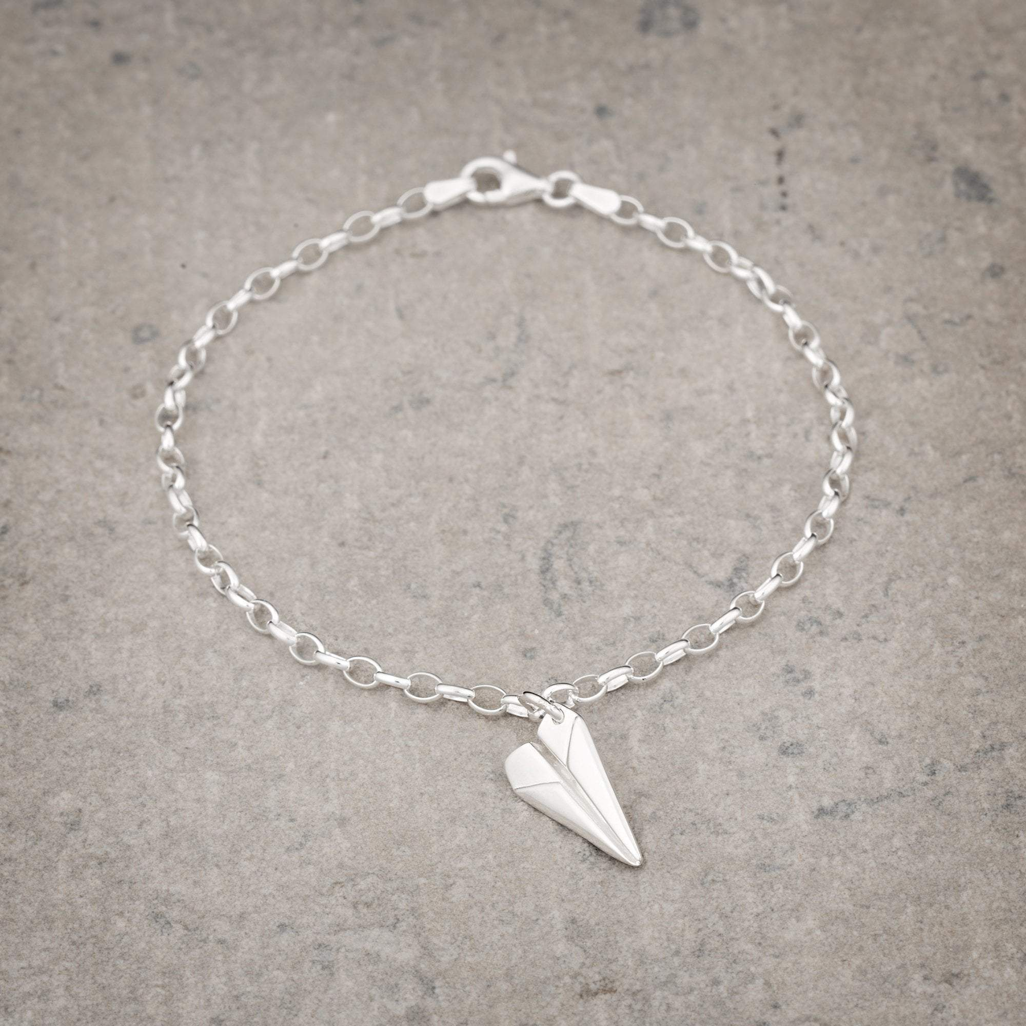 Personalised Silver Paper Plane Charm Bracelet - Lily Charmed