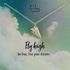 Silver Paper Plane Necklace with 'Fly High' Message