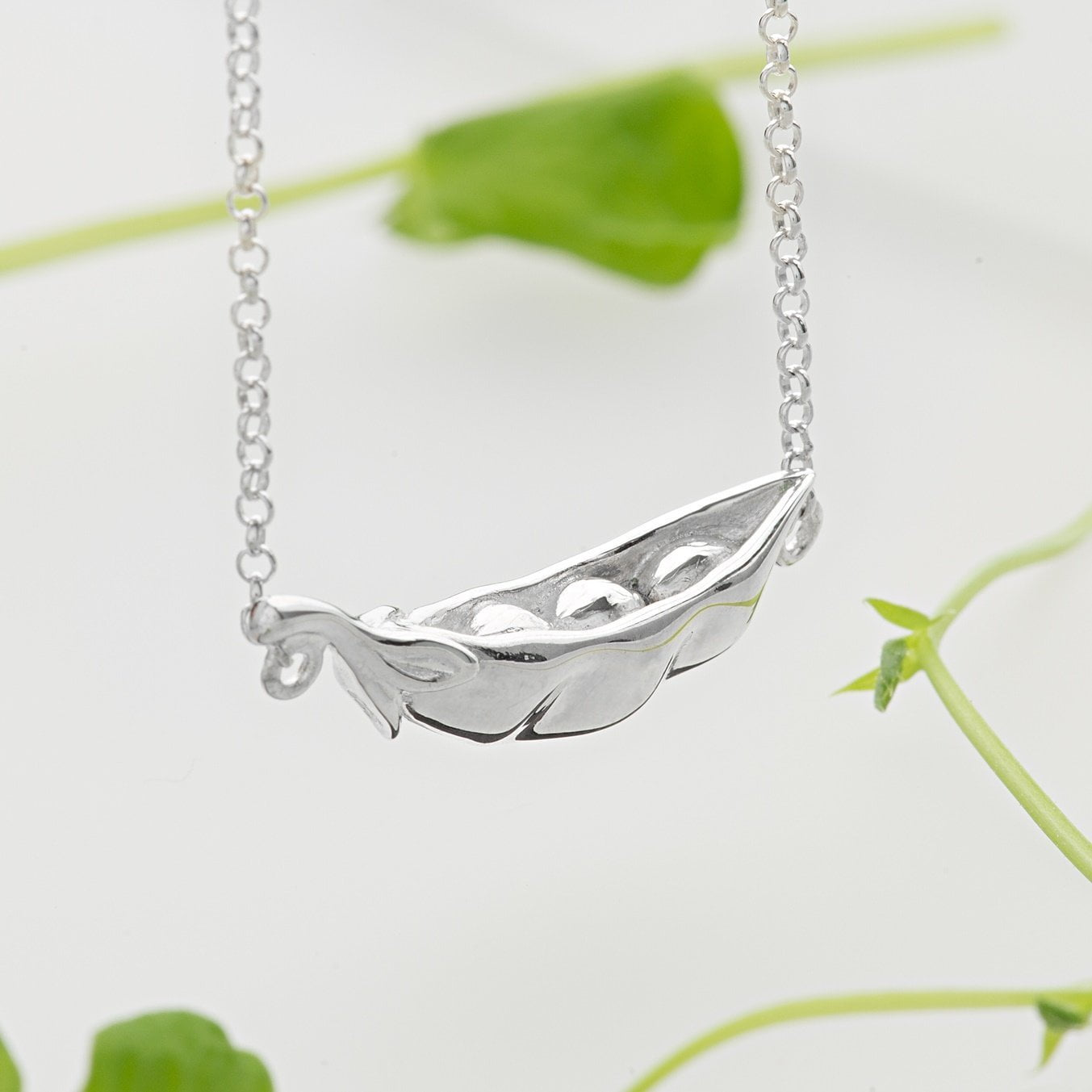 Personalised Silver Peas in a Pod Necklace - Lily Charmed