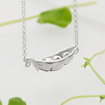 Personalised Silver Peas in a Pod Necklace