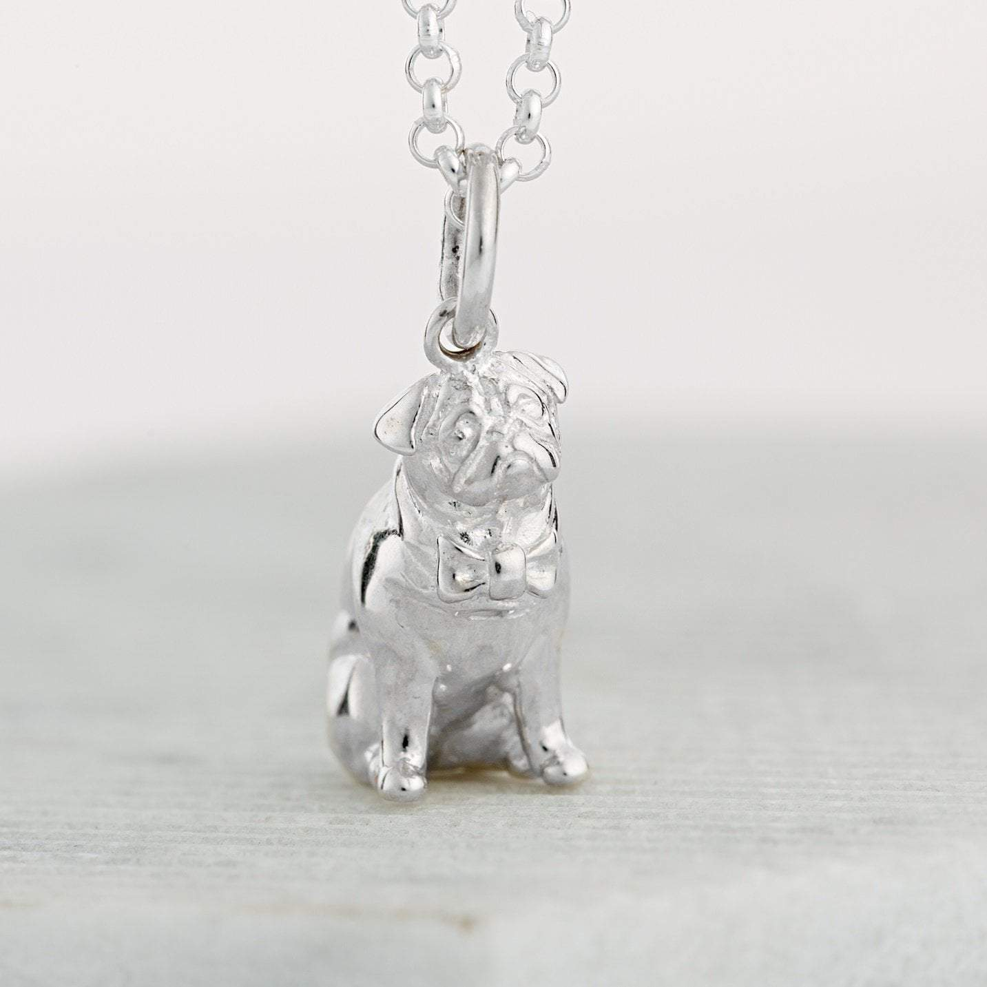 Personalised Silver Pug Necklace - Lily Charmed