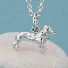 Personalised Silver Sausage Dog Necklace