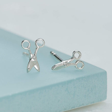 Silver Scissor Stud Earrings