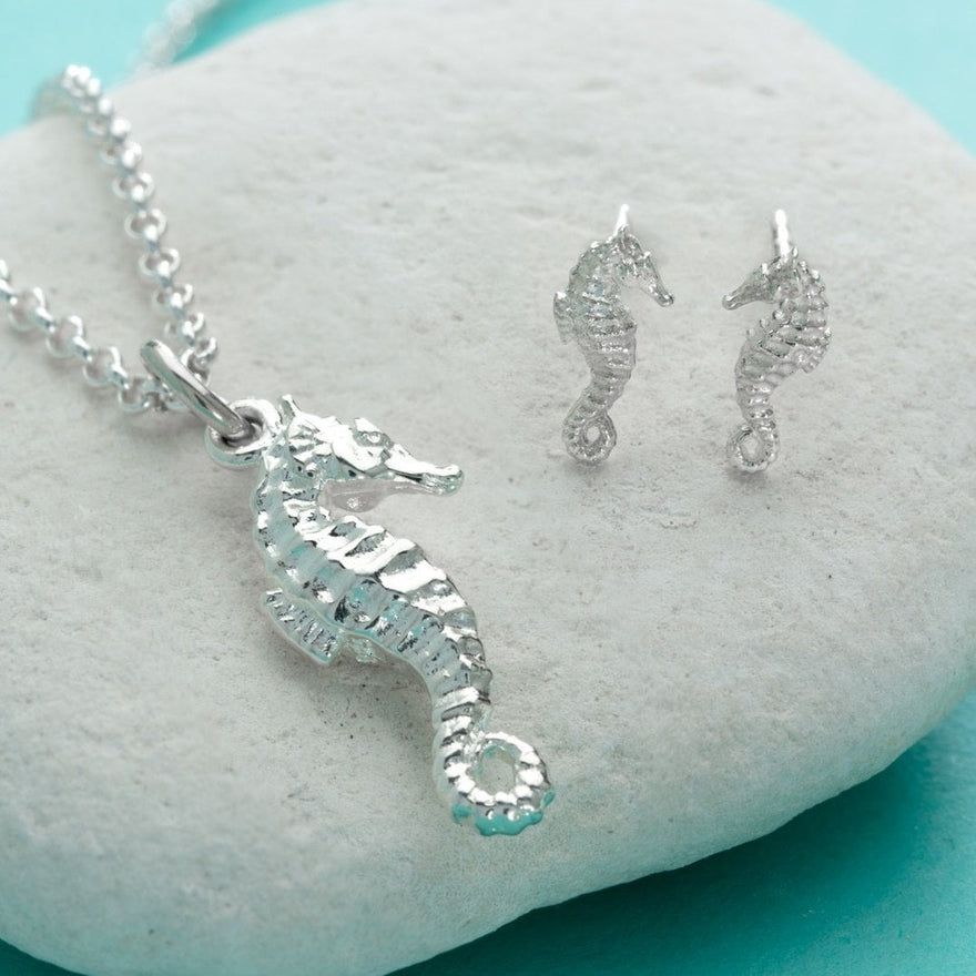 Silver Seahorse Jewellery Set With Stud Earrings