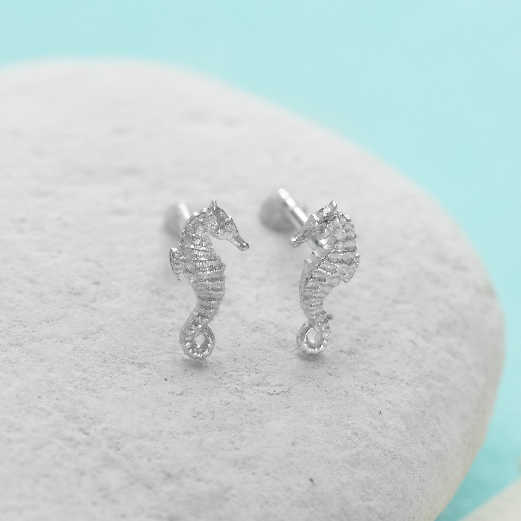 Silver Seahorse Stud Earrings - Lily Charmed