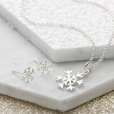 Silver Snowflake Jewellery Set With Stud Earrings
