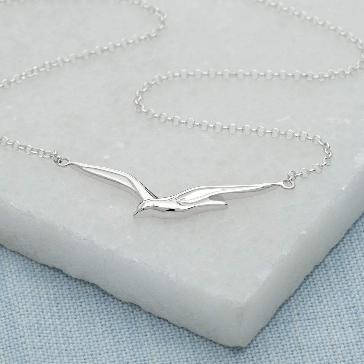 Personalised Silver Soaring Bird Necklace