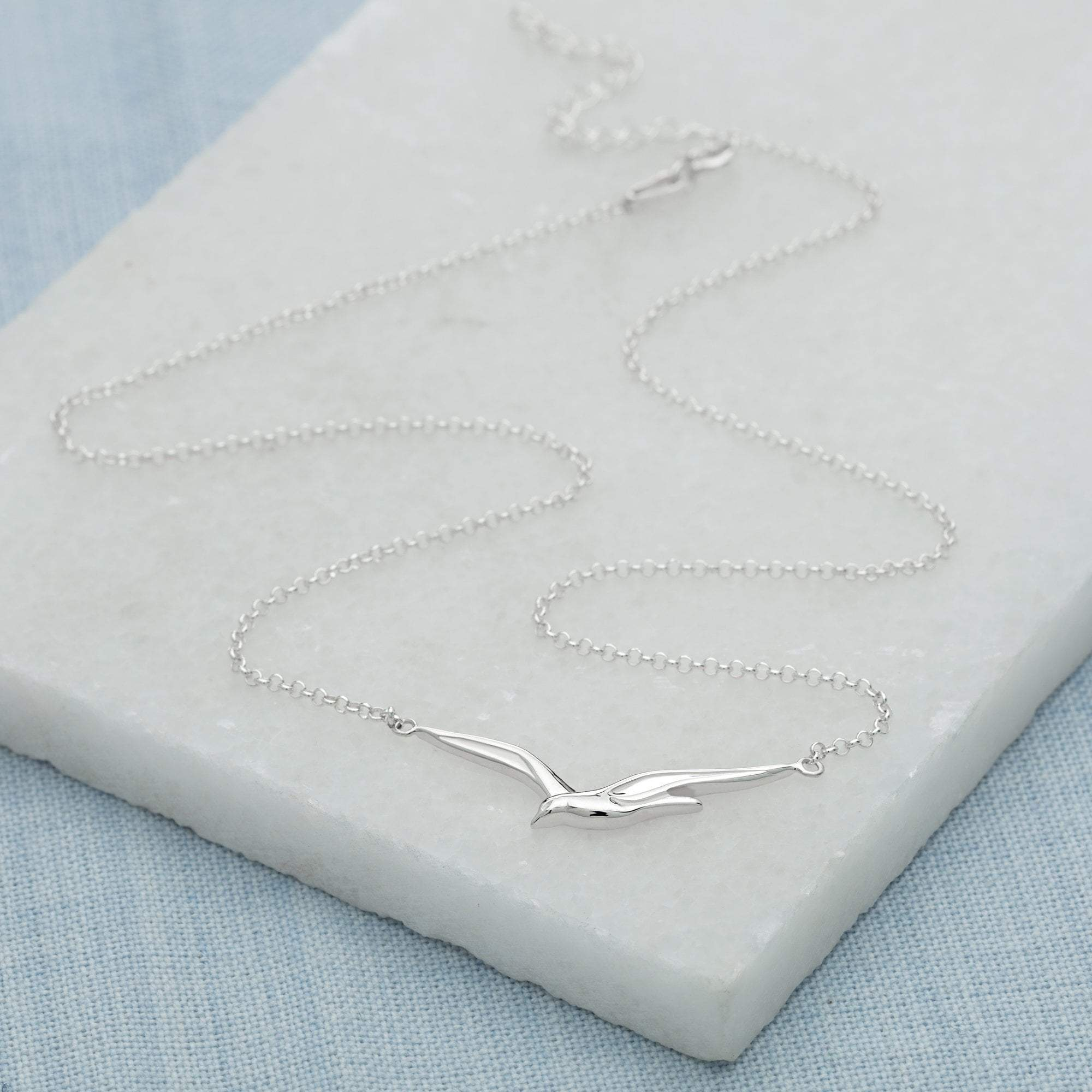 Personalised Silver Soaring Bird Necklace - Lily Charmed