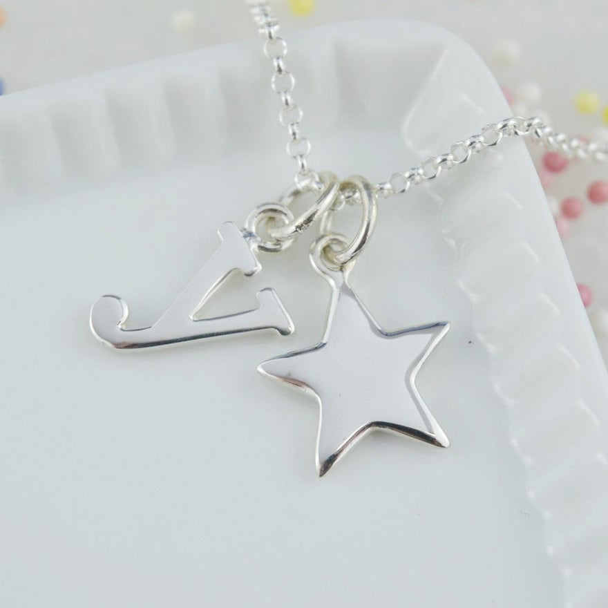Personalised Silver Solid Star Necklace