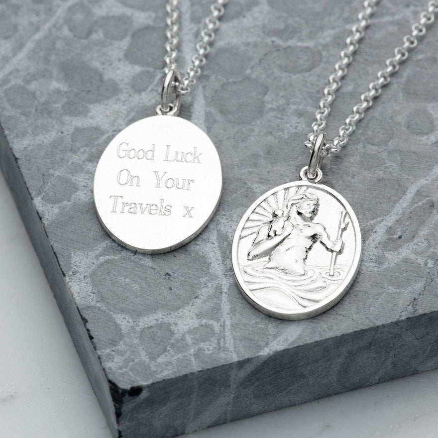 Engraved Silver St Christopher Necklace - Lily Charmed