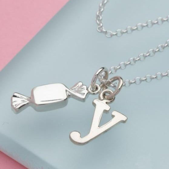 Children's Personalised Silver Sweet Necklace - Lily Charmed