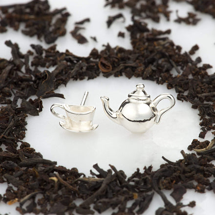 Silver Teapot and Teacup Stud Earrings