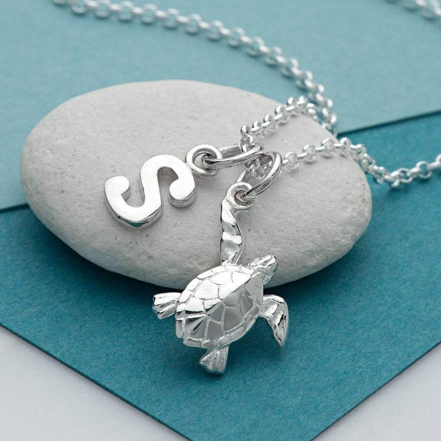Personalised Silver Turtle Necklace