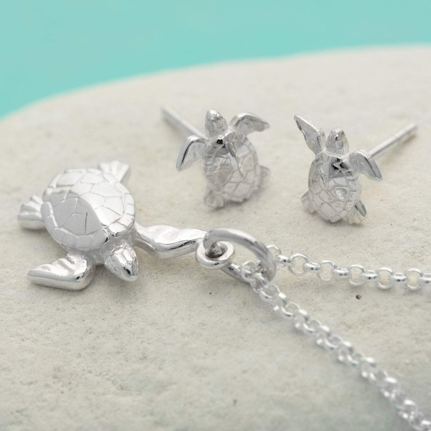 Silver Turtle Jewellery Set With Stud Earrings