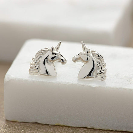 Lily Charmed Sterling Silver Unicorn Stud Earrings