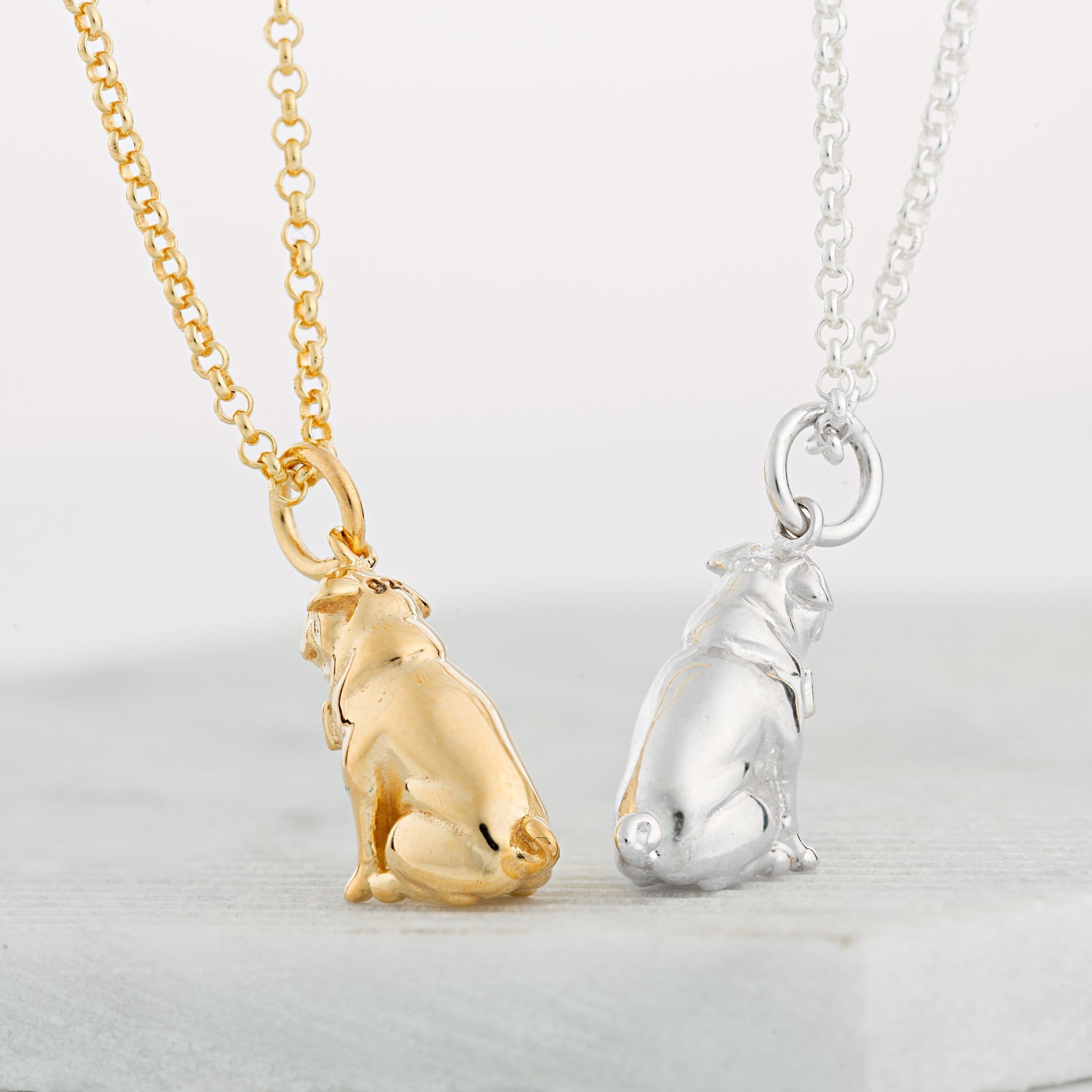 Personalised Gold Plated Pug Necklace - Lily Charmed