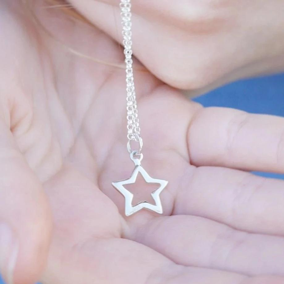 Children's Personalised Silver Open Star Necklace - Lily Charmed