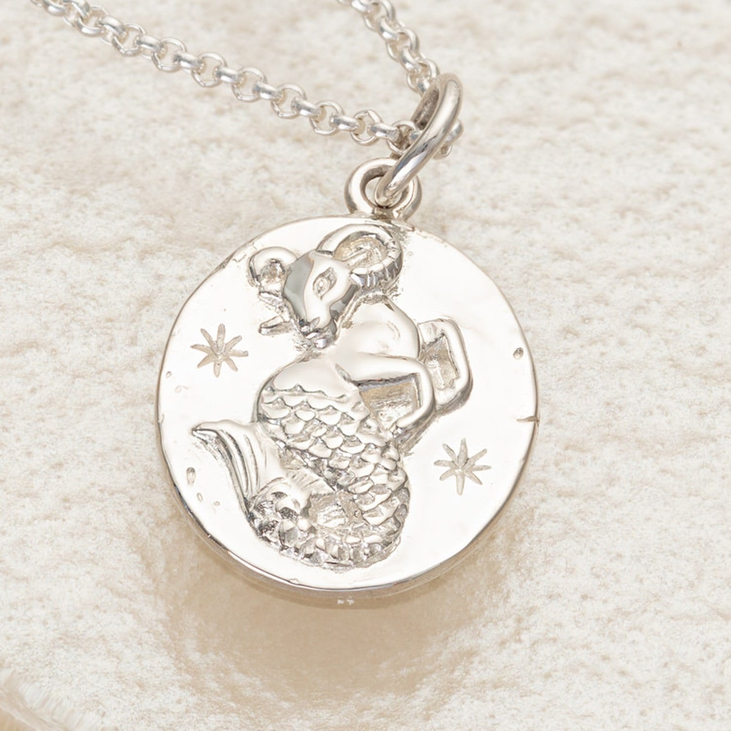 Engraved Silver Capricorn Zodiac Necklace - Lily Charmed