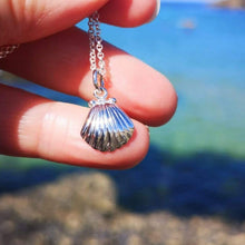 Children's Personalised Silver Clam Shell Necklace