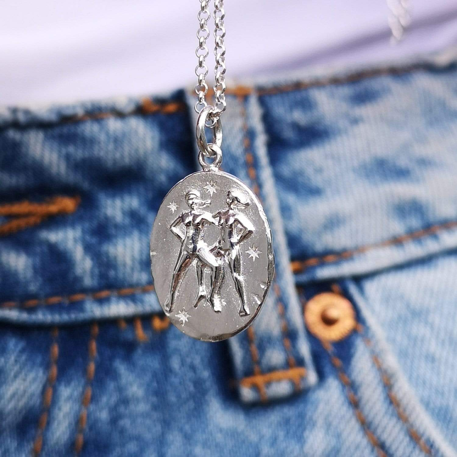 Personalised Silver Gemini Zodiac Necklace - Lily Charmed