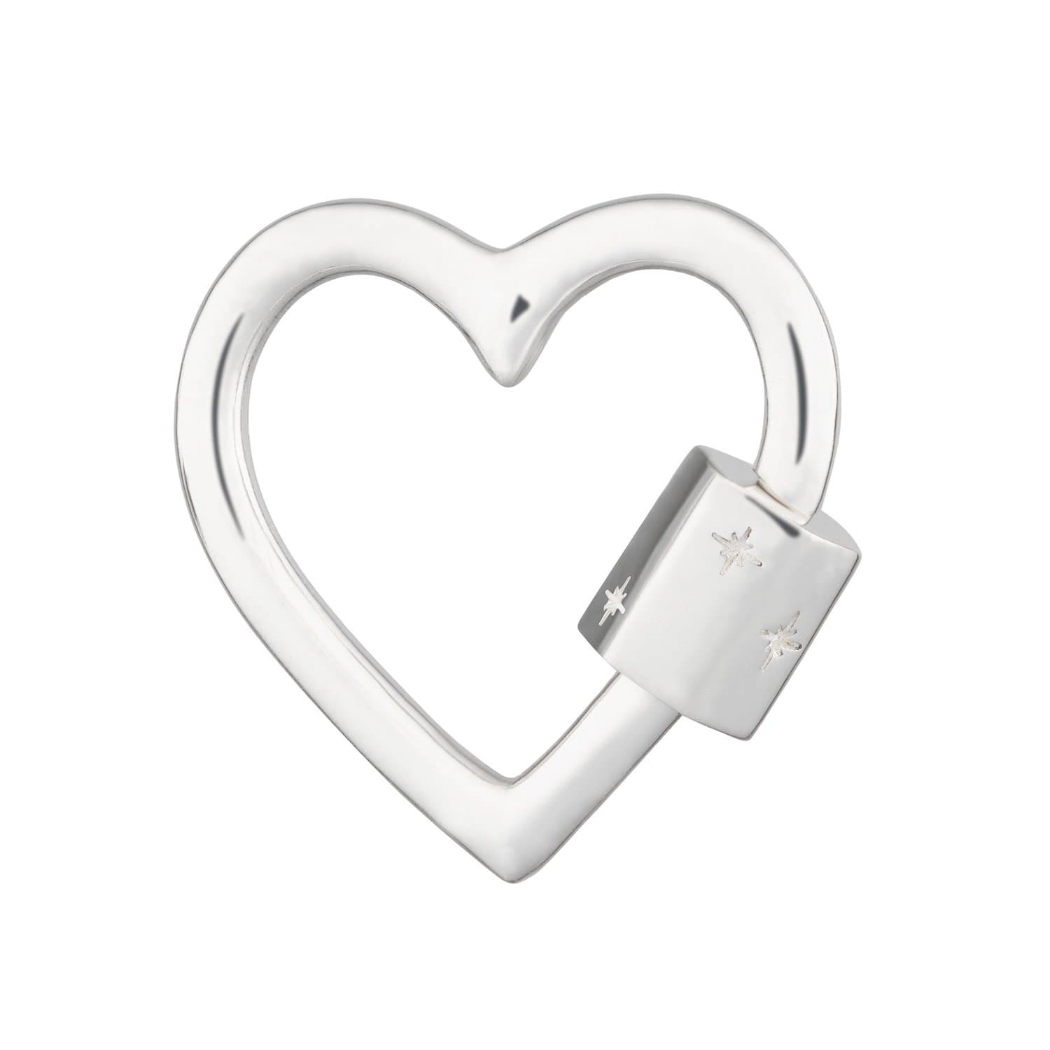 Silver Heart Carabiner Charm Lock by Lily Charmed
