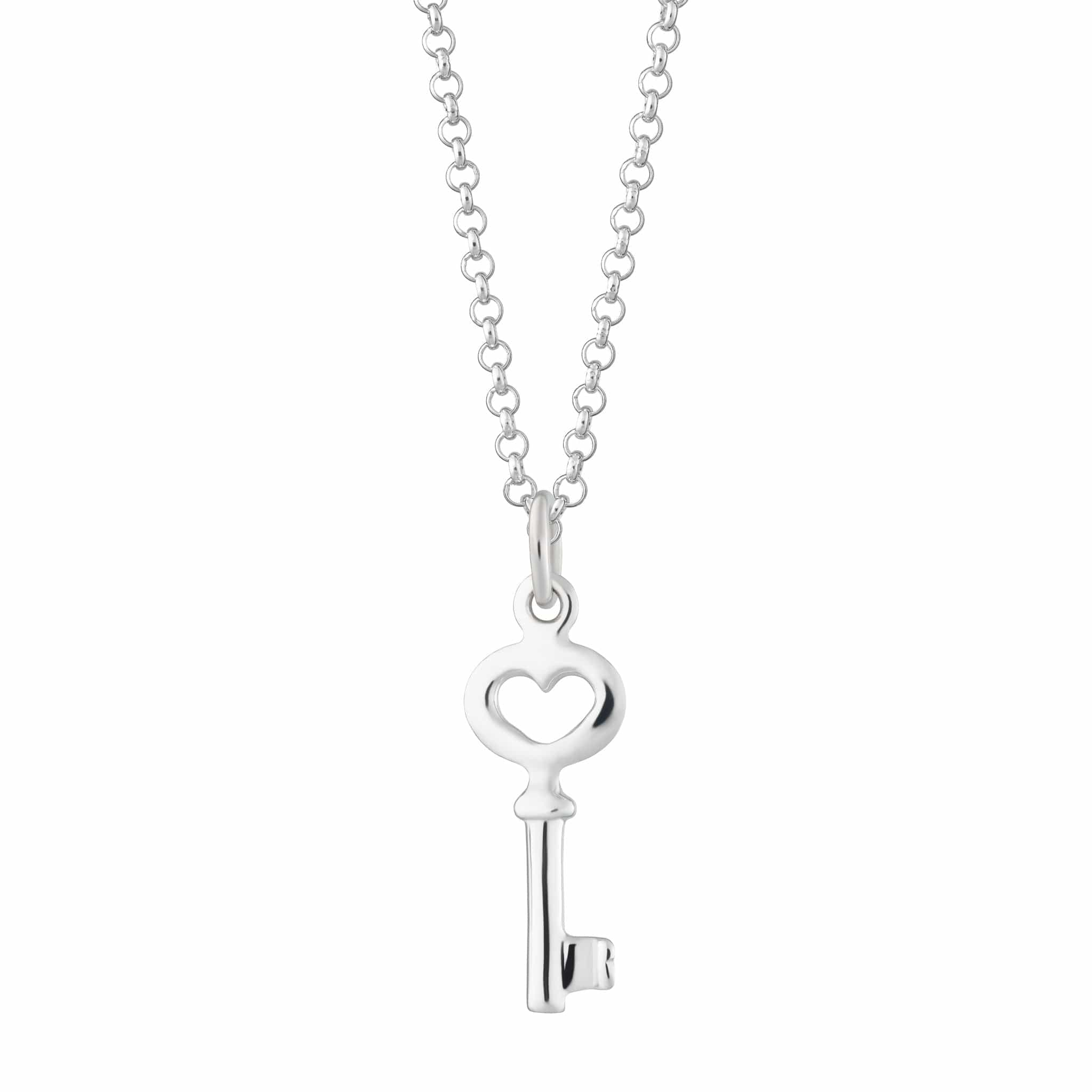 Personalised Silver Key Necklace - Lily Charmed