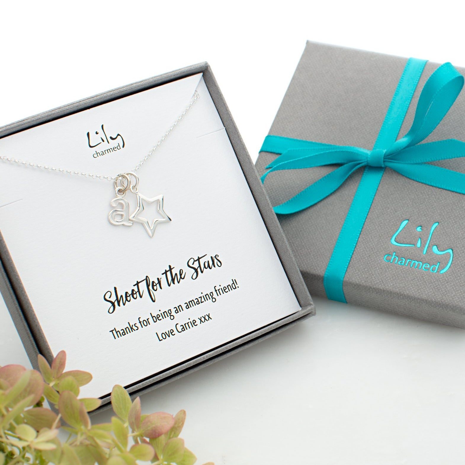 Personalised Silver Open Star Necklace