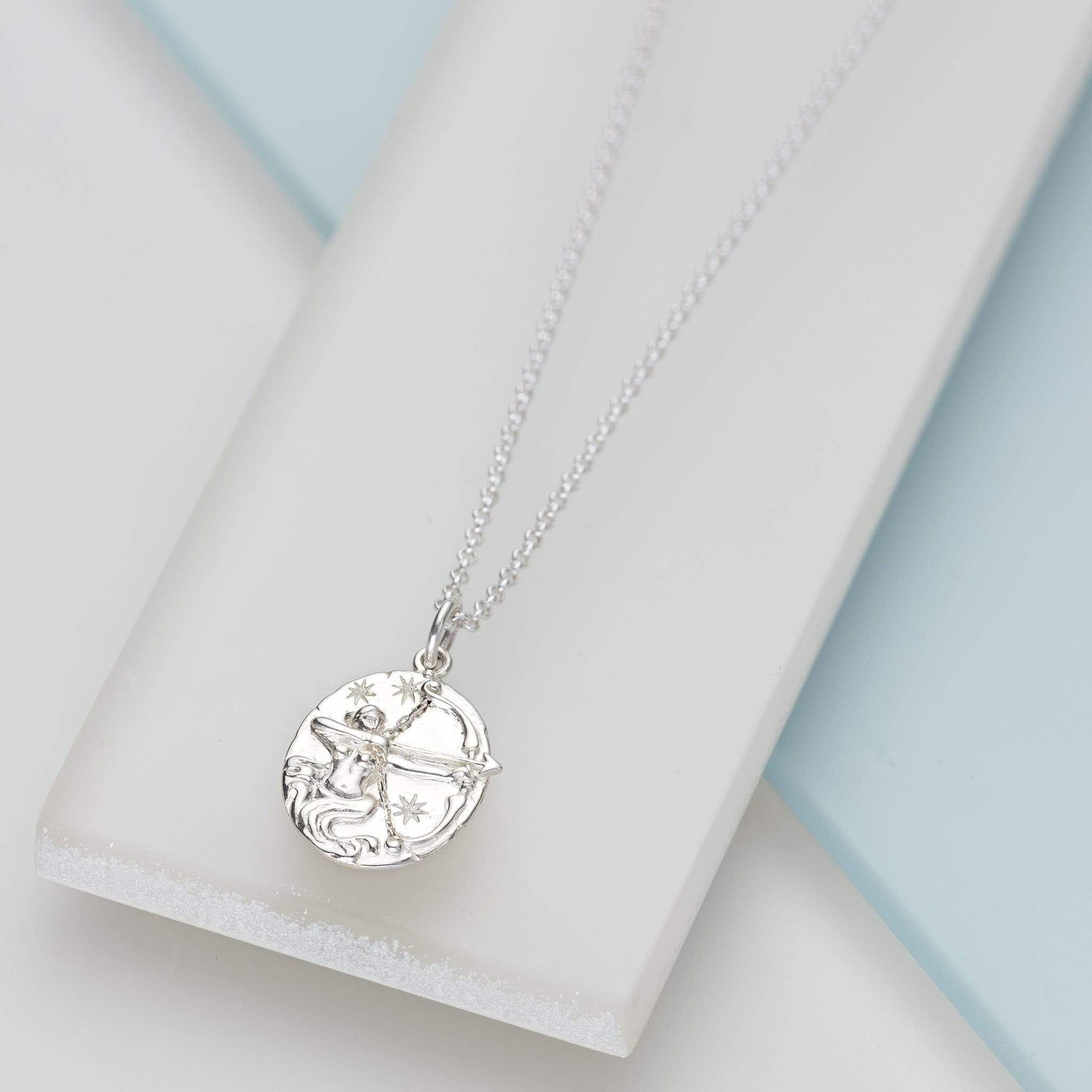 Engraved Silver Sagittarius Zodiac Necklace - Lily Charmed