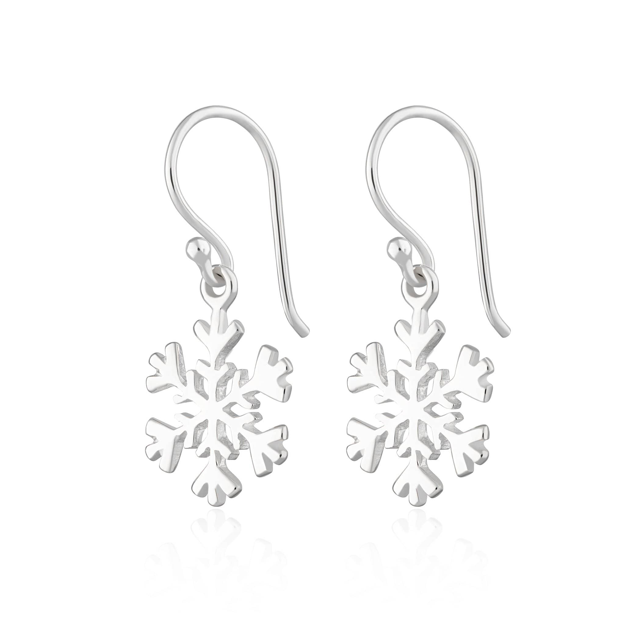 Silver Snowflake Hook Earrings by Lily Charmed