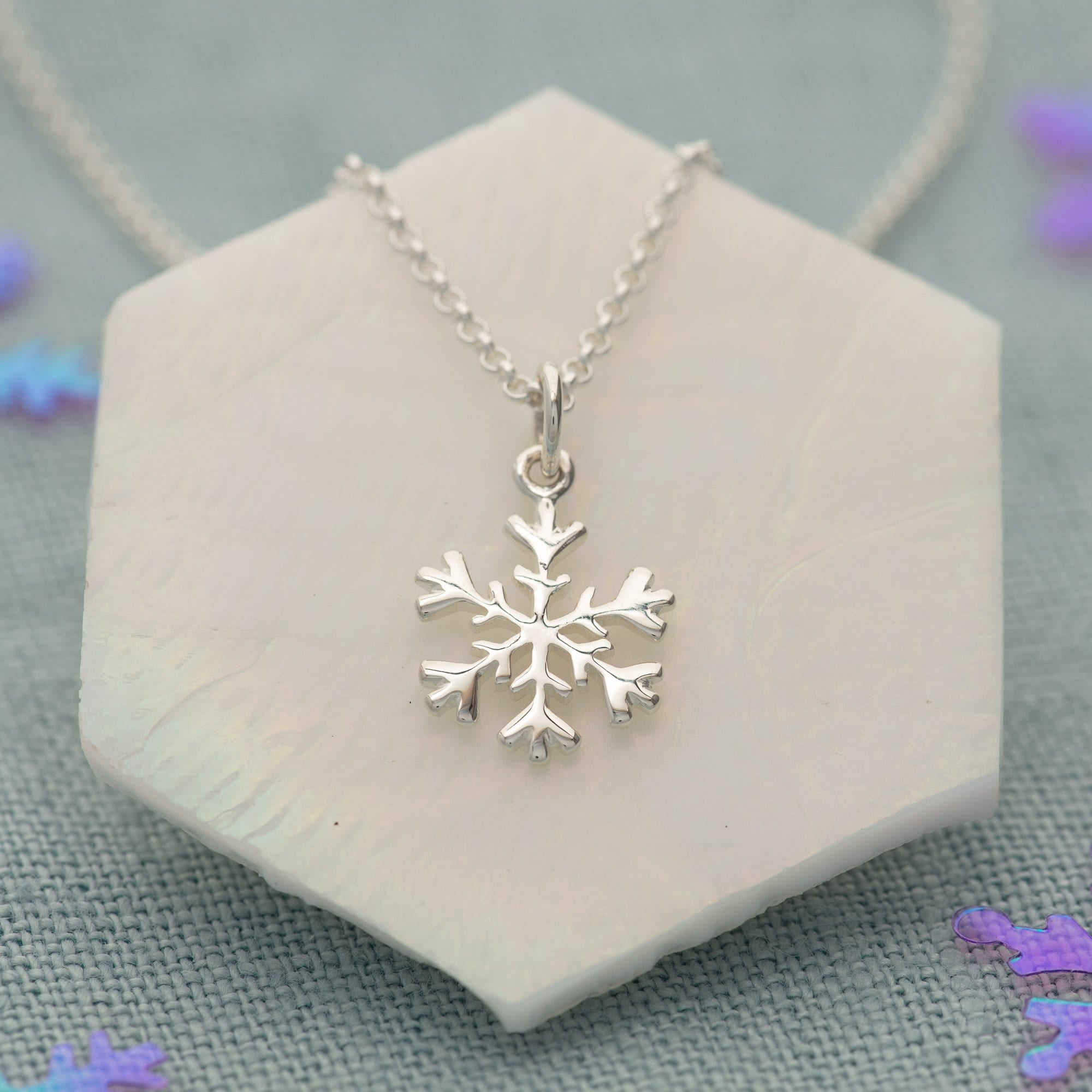 Lily Charmed Silver Snowflake Necklace